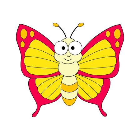 Farfalla simpatico cartone animato. Illustrazione vettoriale isolato su sfondo bianco Vettoriali