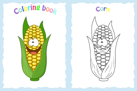 Coloring book page for children with colorful corn and sketch to color. Preschool education. Vector illustration. Kids activity.