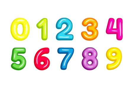 Colorful  kid font numbers vector illustration isolated on white bckground. Illustration