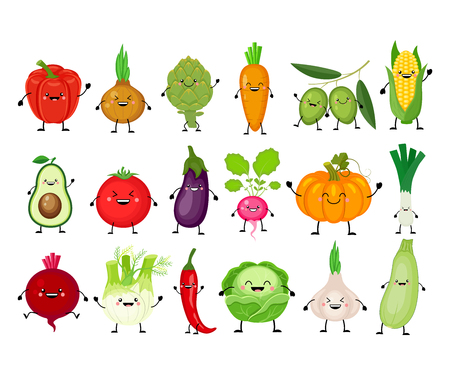 Funny cartoon set of different vegetables. Kawaii vegetables. Smiling pumpkin, carrot, eggplant, bell pepper, tomato, avocado, artichoke, cabbage, fennel onion garlic Vector illustration isolated on white