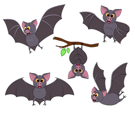 Cartoon bat in different poses. Halloween elements set. Collection of flying bats. Vector clip art illustration isolated on white background. Ilustração