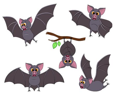 Cartoon-Fledermaus in verschiedenen Posen. Halloween-Elemente eingestellt. Sammlung fliegender Fledermäuse. Vektorclipartillustration lokalisiert auf weißem Hintergrund.