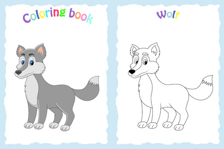Coloring book page for preschool children with colorful wolf  and sketch to color Ilustração
