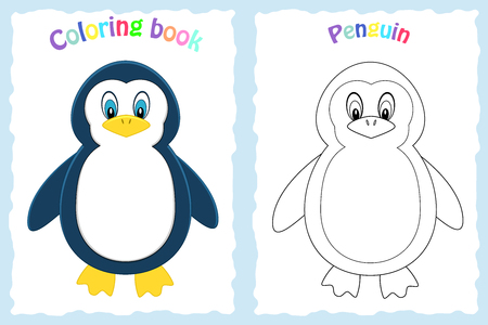 Coloring book page for preschool children with colorful  penguin  and sketch to color. Arctic animal. Ilustrace
