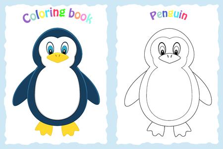 Página de libro para colorear para niños en edad preescolar con pingüino colorido y boceto a color. Animal ártico. Foto de archivo - 106239155