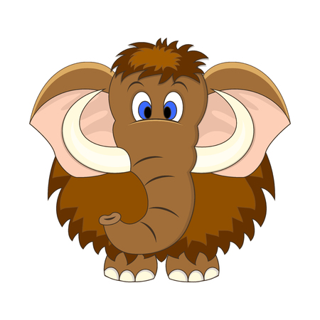 Cute cartoon mammoth vector illustration. Isolated on white background.