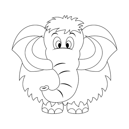 Colorless  funny cartoon mammoth. Vector illustration. Coloring page. Preschool education