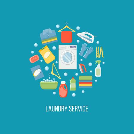 Ilustración de vector de servicio de lavandería. Ilustración de vector aislado sobre fondo blanco.