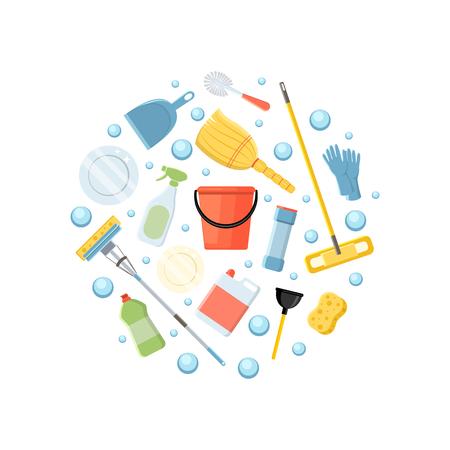sfondo circolare di elementi di pulizia. illustrazione vettoriale isolato su sfondo bianco.