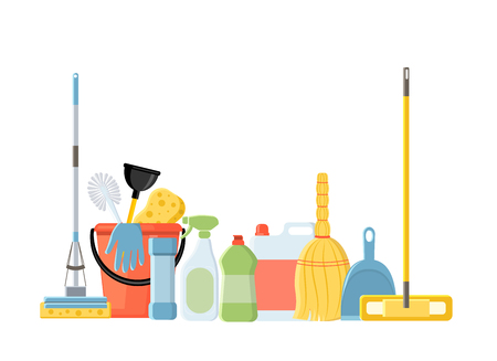 Cleaning tools in flat cartoon style vector illustration isolated on white background. Mop, sponge, detergent, bucket, brush.