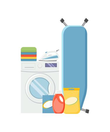 Wäscheservice-Elemente. Washind-Maschine, Waschmittel, Eisen, Bügeleisen und Kleidervektorillustration lokalisiert auf weißem Hintergrund.