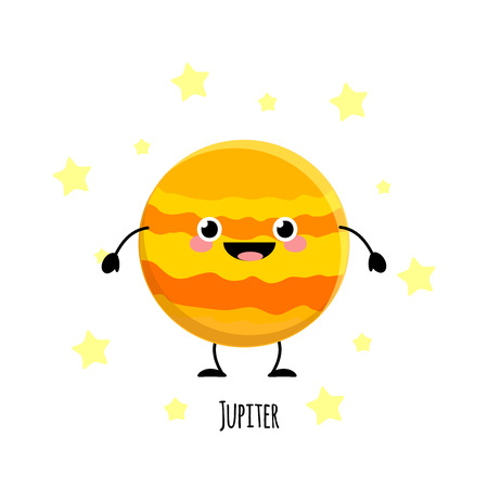 Jupiter planet with the happy fase. Planet characters vector illustration isolated on white background.