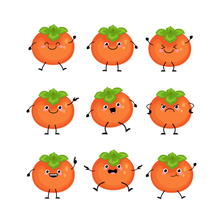 Cute persimmon characters set  with different emotions illustration. Funny fruit