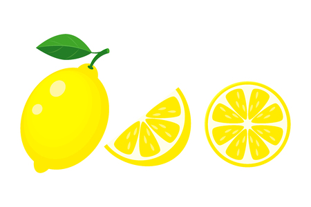 Colorful whole, half and slice lemon with green leaf. Vector illustration isolated onwhite background.
