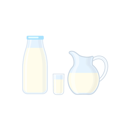 Bottle, glass and jug with milk vector illustration isolated on whitebackground. Dairy products.