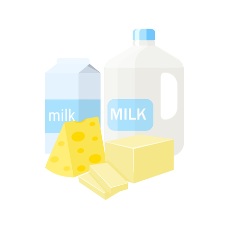 Dairy products vector illustration isolated on white background. Milk, cheese, butter