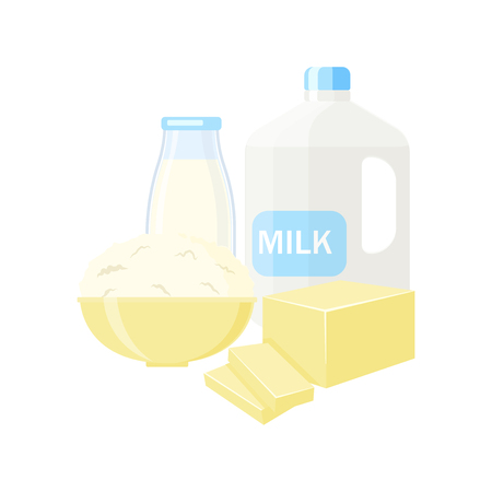Dairy products vector illustration isolated on white background Ilustração