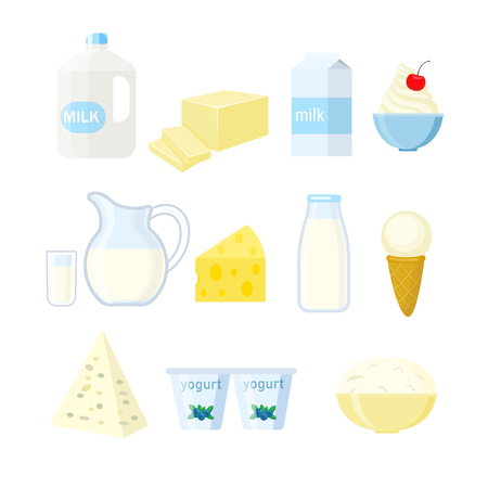 Set of different dairy products in a flat stule. Vector illustration isolated on white background. Ilustração