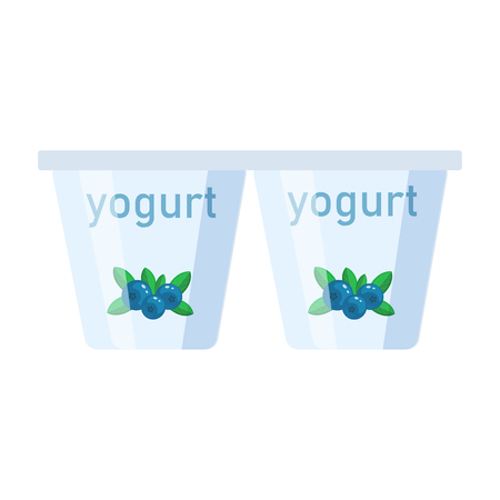 Yogurt vectorillustration in a flat style isolated on white background.i dairy product