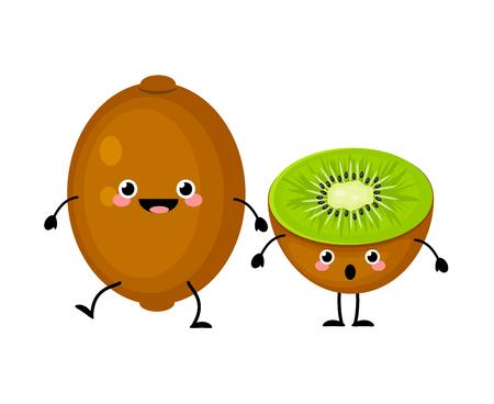 Kiwi fruit characters isolated on white background.  Kawaii kiwi
