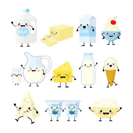 Cute cartoon dairy products characters vector illustration isolated on white background. Kawaii dairy products Ilustracja