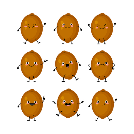 Cute kiwifruit characters set  with different emotions illustration. Funny fruit