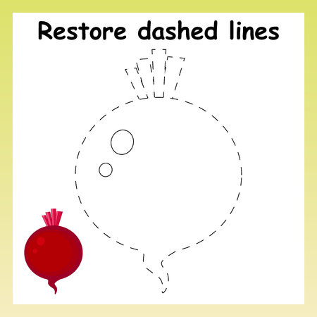 Trace game for children. Cartoon beet root. Restore dashed line and color picture. Vegetables