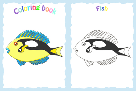 Coloring book page for children with colorful yellow fish and sketch to color. Preschool education.