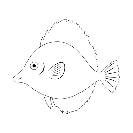 Colorless fish vector illustration isolated on white background. Coloring book page for children.