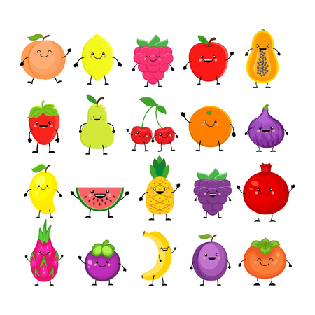 Funny cartoon set of different fruits. Vectores