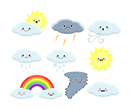 Kawaii set of different weather vector illustration isolated on white background.