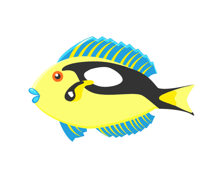 Exotic coral fish vector illustration isolated on white background. kids vector
