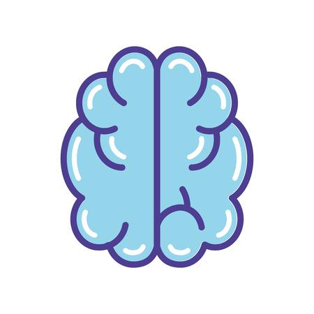 Blue brain icon vector illustration  isolated on white background Иллюстрация
