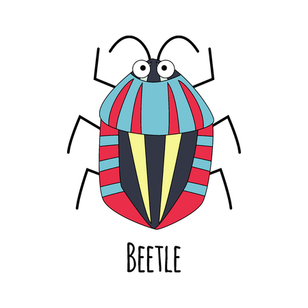 Cute cartoon beetle vector  illustration isoated on white background