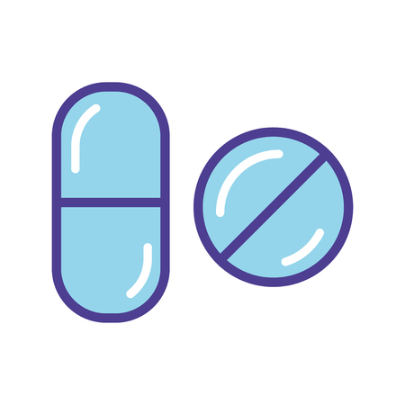 Blue pills  icon vector illustration  isolated on white background