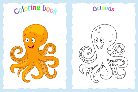 Coloring book page for  children with colorful octopus  and sketch to color. Preschool education. Vector illustration. Kids activity.