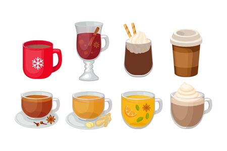 Set of different hot beverage vector illustration isolated on white background. Coffee, mulled wine, spicy tea, hot chocolate, ginger tea vector.