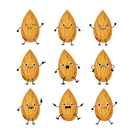 Cute almond characters set with different emitions vector illustration. Funny nuts mascots
