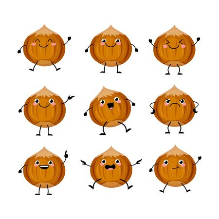 Cute hazelnut characters set with different emitions vector illustration. Funny nuts mascots
