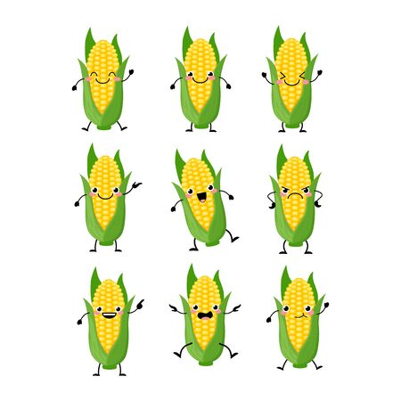 Cute corn characters set with different emitions vector illustration. Funny vegetables