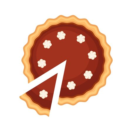 Traditional american homemade chocolate pie with pie slice and whipped cream vector illustration isolated pn white background. Chocolate cheesecake Ilustracja