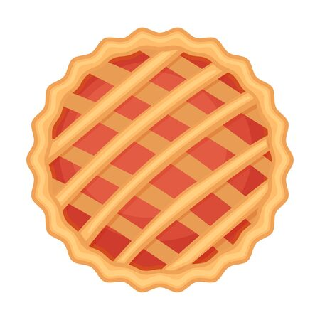 Traditional American homemade pie with fruit or berry filling. Vector illustration isolated on white background. Elevated view. Ilustracja