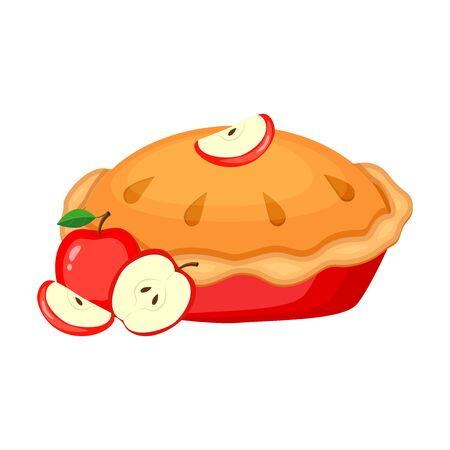 Apple pie vector illustration isolated on white background. Traditional American pie illustration.