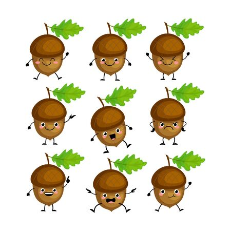 Cute acorn   characters set  with different emitions vector illustration. Funny nuts. Kawaii acorns