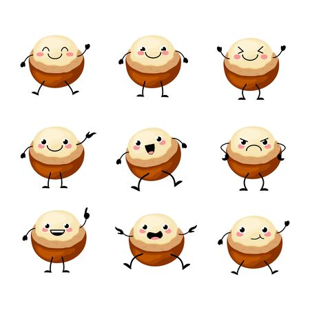 Cute macadamia  nuts  characters set  with different emitions vector illustration. Funny nuts Ilustração