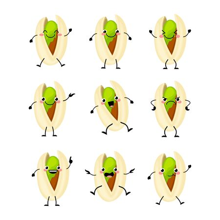 Cute pistachio nuts characters set with different emitions vector illustration. Funny nuts