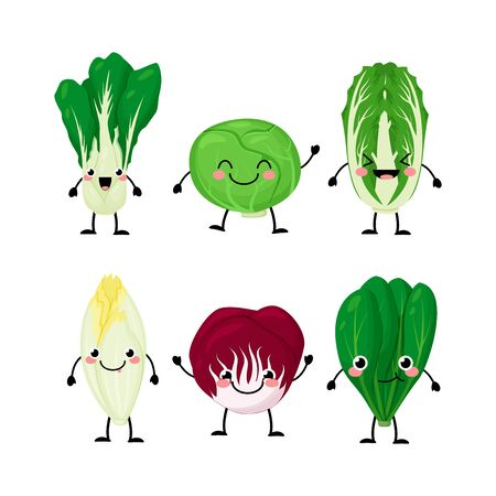 Set of different cartoon green salat leaves characters vector illustration isolated on white background. Cute kawaii lettuce. Ilustração