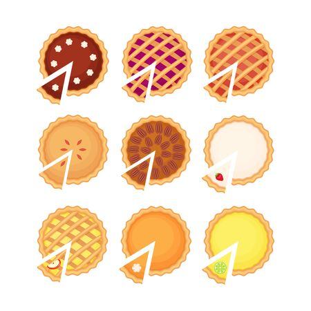 Homemade pieand pie slice set with different fruit filling.  Flat vector illustration isolated on white background. Top view. Ilustracja