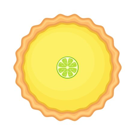 Traditional American homemade lemon pie with lemon or lime slice. Vector illustration isolated on white background. Elevated view.