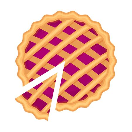 Traditional american homemade berry pie with pie slice  vector illustration isolated on white background.